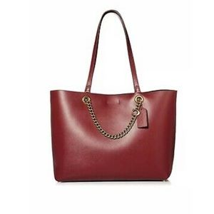Coach Refined Calf Leather Deep Red Large Tote Bag